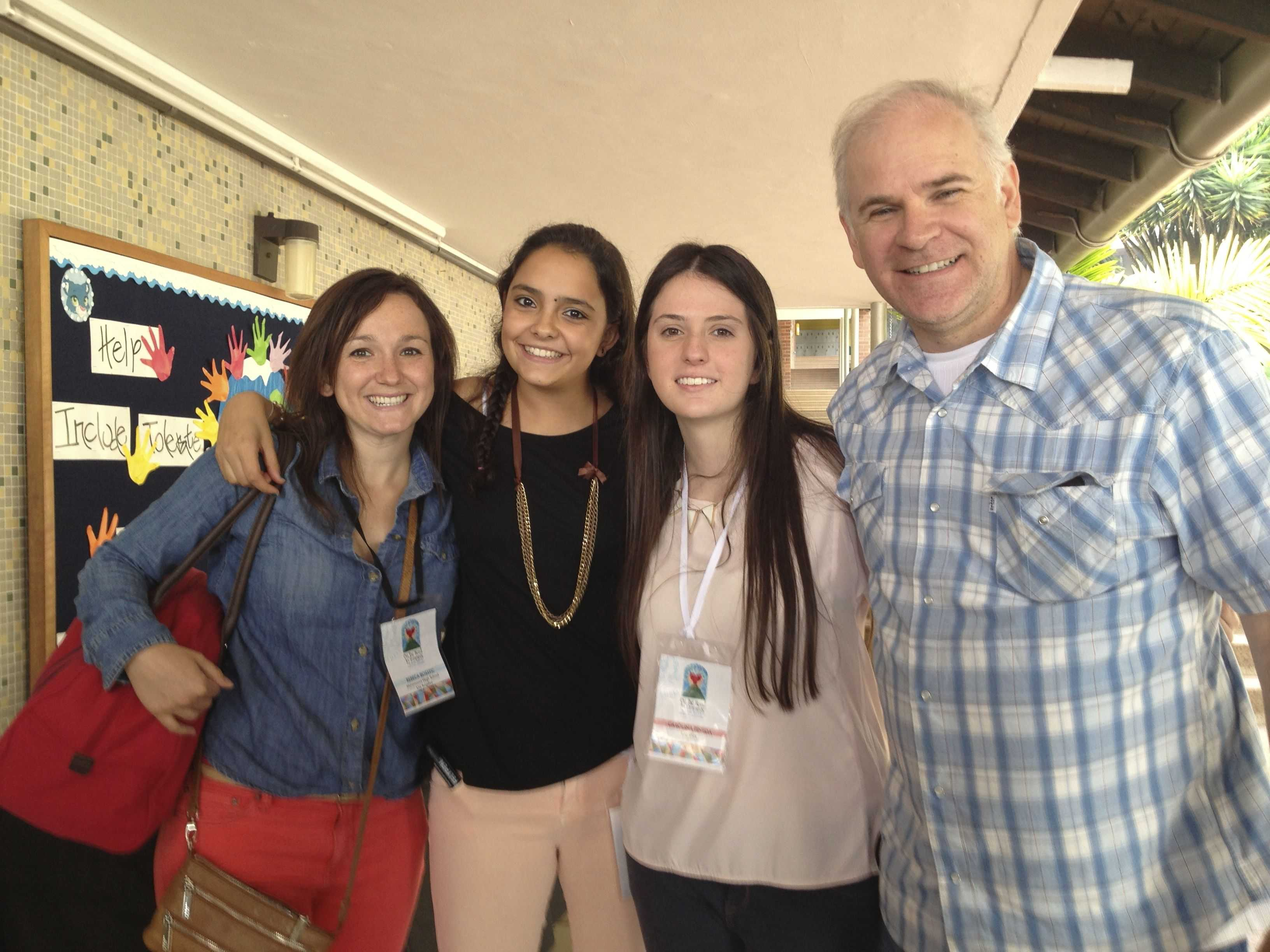 The Marymount Medellin students smile with Mrs. Bostic and Mr. Klein during the Religious of the Sacred Heart of Mary International Conference last June in Medellin.