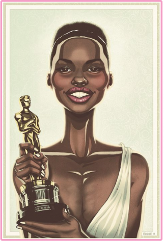"""Lupita with her Oscar"" by Eddie Holly"