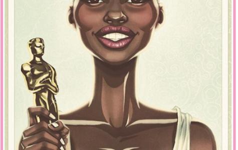 """""""Lupita with her Oscar"""" by Eddie Holly"""