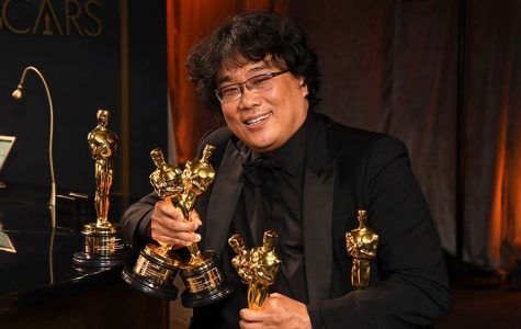 Director Bong Joon-ho with his Oscars. Photo by Richard Shotwell.
