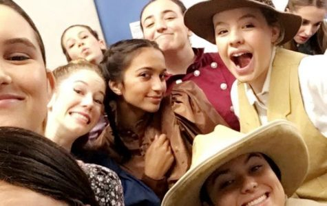 "The Marymount Players backstage at a performance of ""Curtains."""