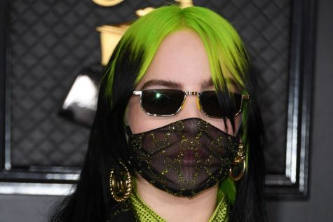 Billie Eilish wears a Gucci face mask at the 2019-20 Grammy Awards Ceremony.