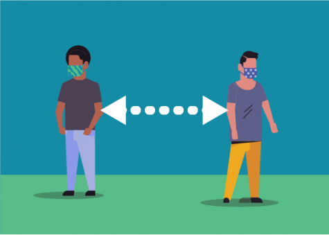 An illustration of proper social distancing, showing two people standing at a distance with masks. Courtesy of the CDC (Center for Disease Control)