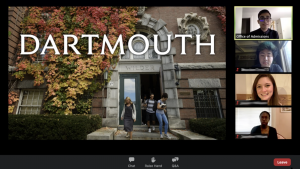 Virtual information session for Dartmouth College held over Zoom along with a Q and A and virtual campus tour, Courtesy of Nicole Biggi '21.