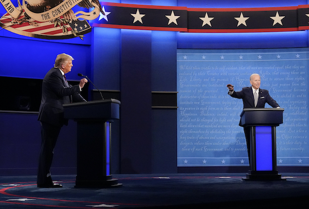 Joe Biden and Donald Trump at the second 2020 Presidential Debate.