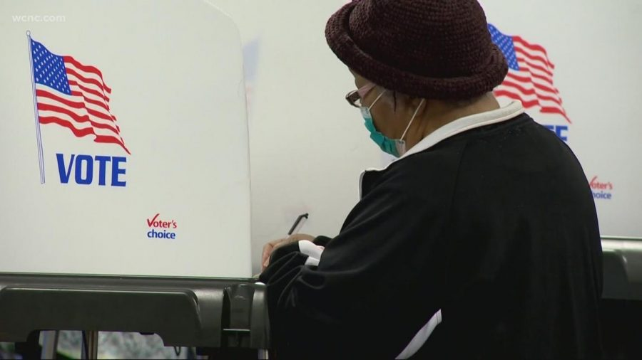 Voter casting their vote in the historical 2020 election.