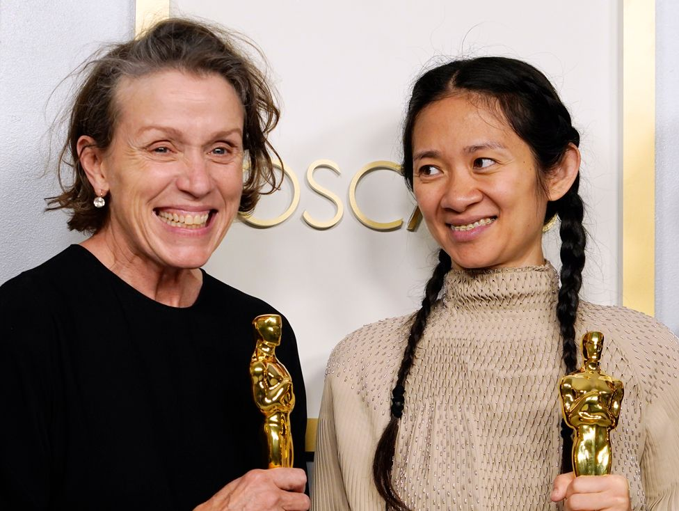 """Frances McDormand and Chloe Zhao take home their awards For best picture for hit film, """"Nomadland."""""""