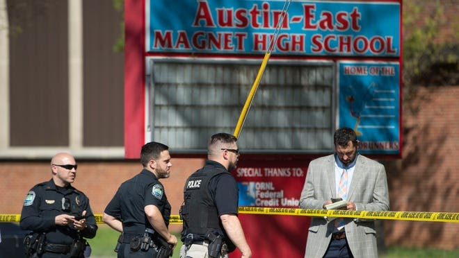 Knoxville police at Austin-East School following the shooting of Anthony J. ThompsonJr.
