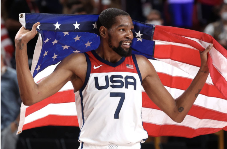 Kevin Durant celebrates the win against France in the Olympic finals. Image courtesy of Time.