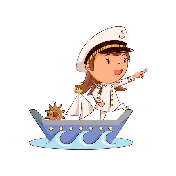Child ship captain, cute kid, sailing, wearing sailor hat, white uniform, leading boat, female, happy cartoon character, young woman person, vector illustration, isolated white background